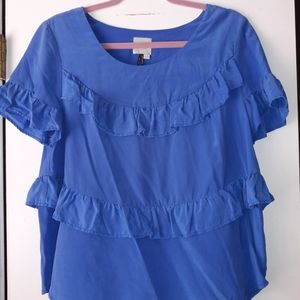 Anthropologie HD In Paris Blue Silk Ruffle Blouse